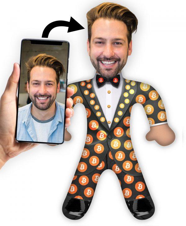 Bitcoin-Man Foto Kuschel Puppe